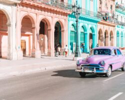 HAVANA, CUBA - APRIL 14, 2017: Classic vintage car in Old Havana, Cuba. The most popular transportation for tourists are used as taxis.